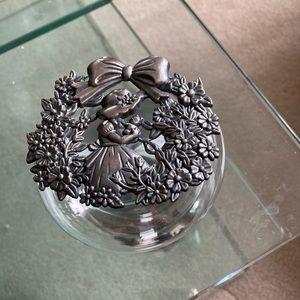 Vtg. Potpourri Jar/Trinket Dish, a girl & flowers